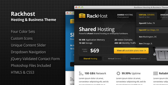 Rackhost Hosting & Business Theme - Hosting Technology