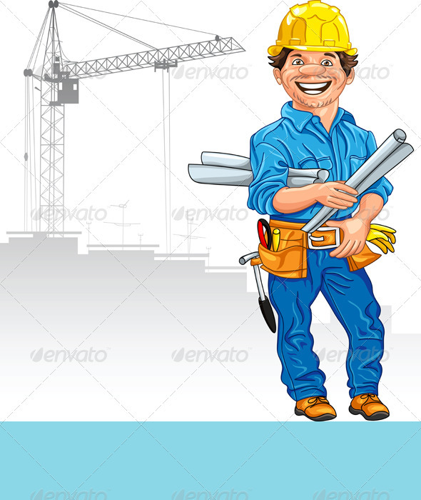 Vector Cheerful Engineer Builder  - People Characters
