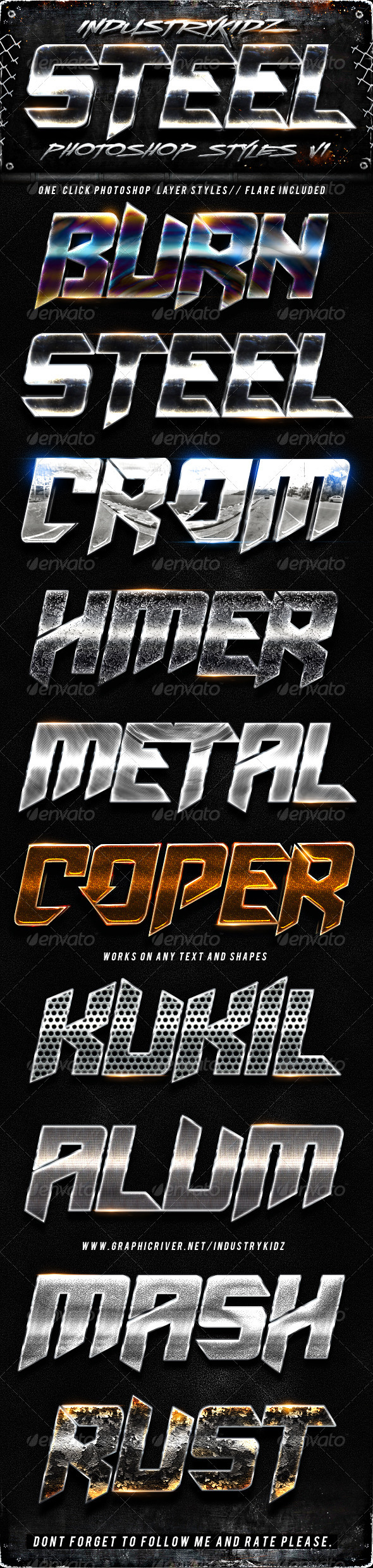 Steel Photoshop Layers Styles V1 - Styles Photoshop