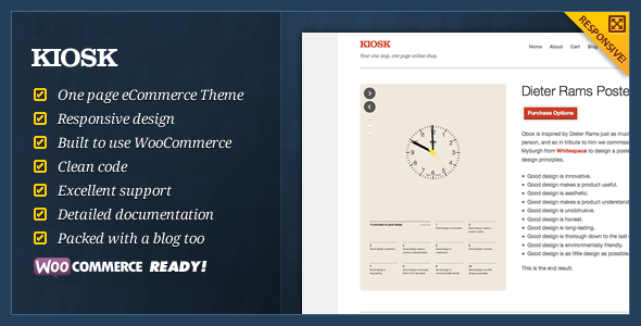 ThemeForest Kiosk One Page eCommerce WordPress Theme 2424999