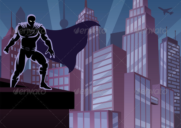 Superhero on Roof - Characters Vectors