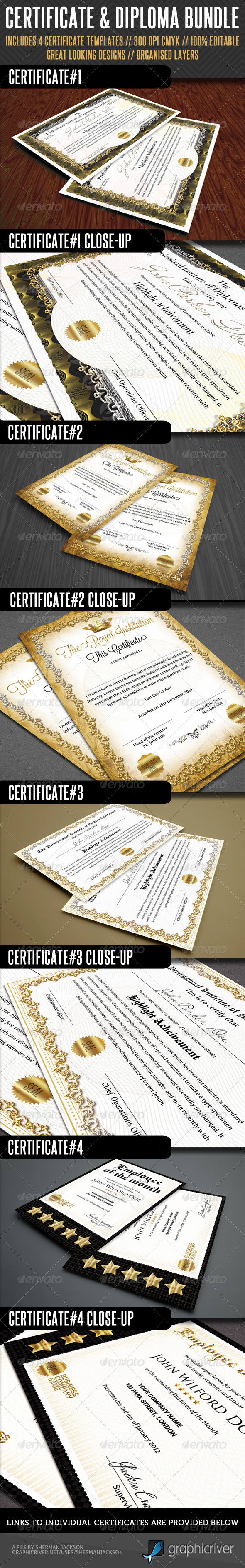 Premium Certificate Bundle - Miscellaneous Print Templates