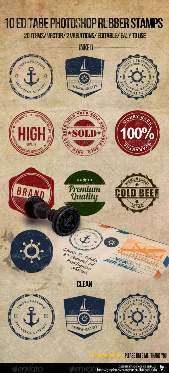 10 Editable Photoshop Rubber Stamps - Badges & Stickers Web Elements