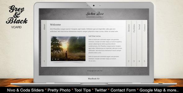 ThemeForest Grey & Black Stylish Online vCard Html Template 272938