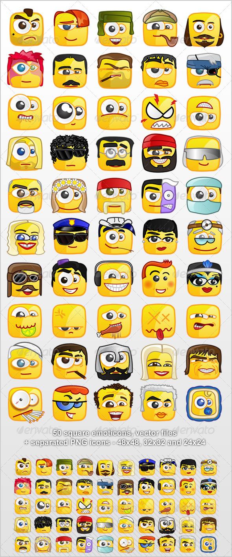 GraphicRiver 50 Square emoticons PACK 2 2427738
