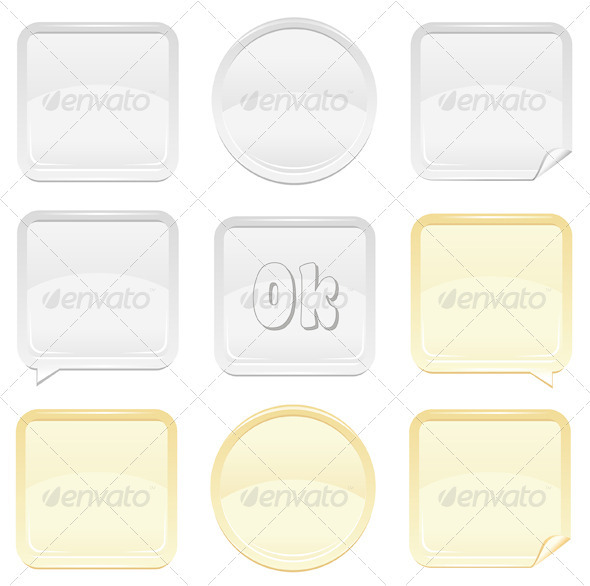 Gold And Silver Shiny Button And Sticker Set - Web Elements Vectors