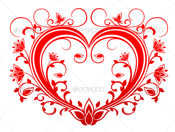 Red valentine heart - Flourishes / Swirls Decorative