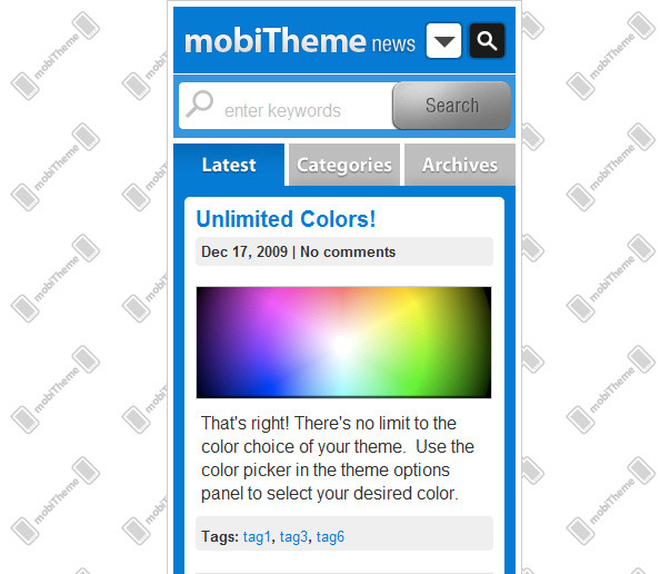mobiTheme - WordPress Theme for Mobile Devices - Search drop down open.