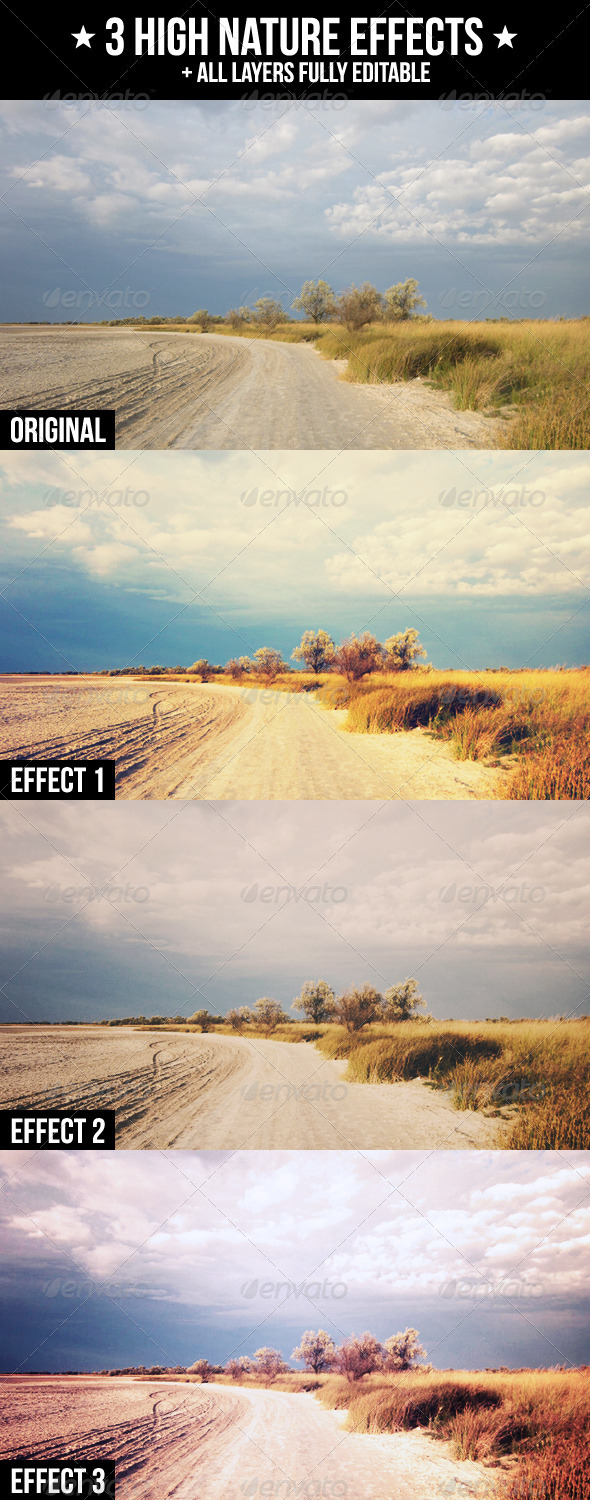 3 High Nature Effects - Actions Photoshop