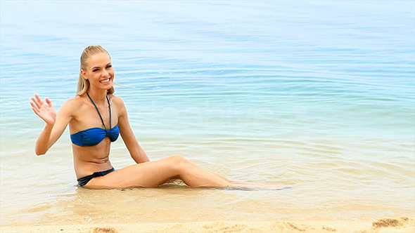[VideoHive 2419802] Cute And Fresh Woman Relaxing At The Beach | Stock Footage