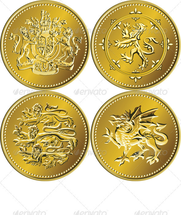 Vector Set British Money Gold Coin Pound  - Man-made objects Objects