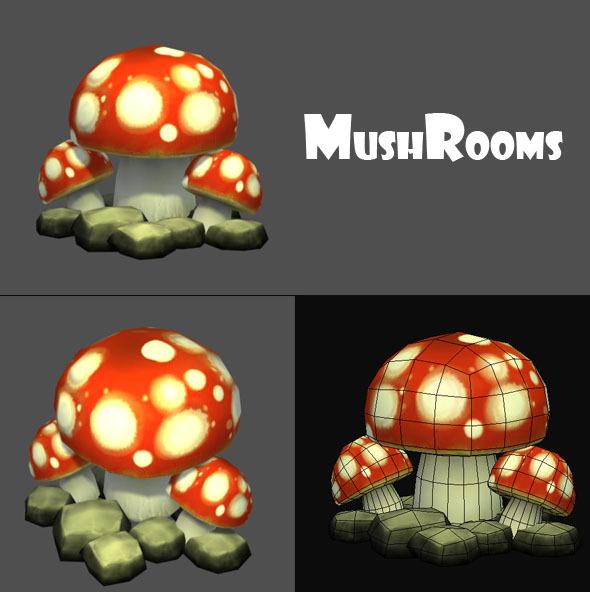 3DOcean Mushrooms Low Poly 2435651