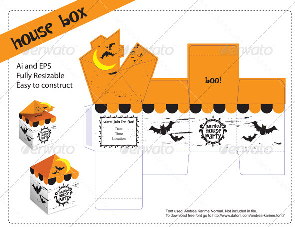 House Box Template - Packaging Print Templates