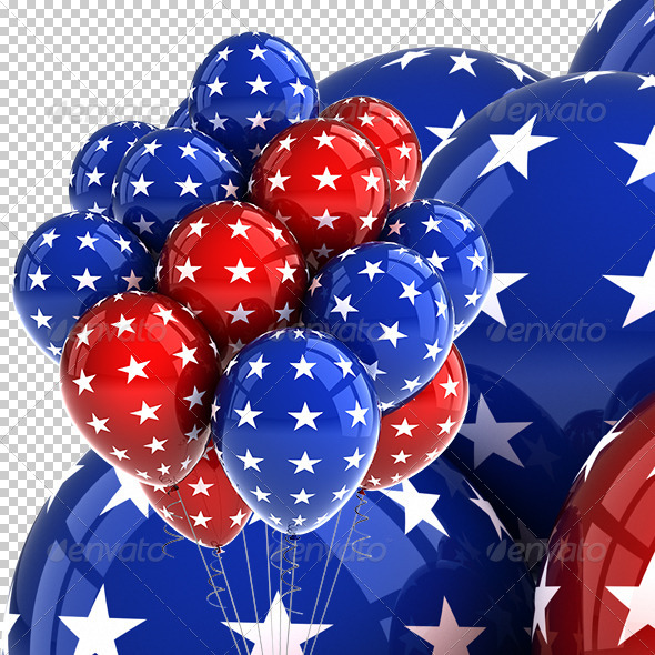 Patriotic USA Party Balloons - Objects 3D Renders