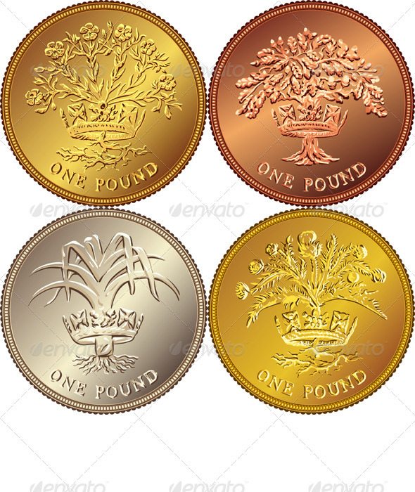 Vector set British Money Gold Coin one Pound  - Business Conceptual