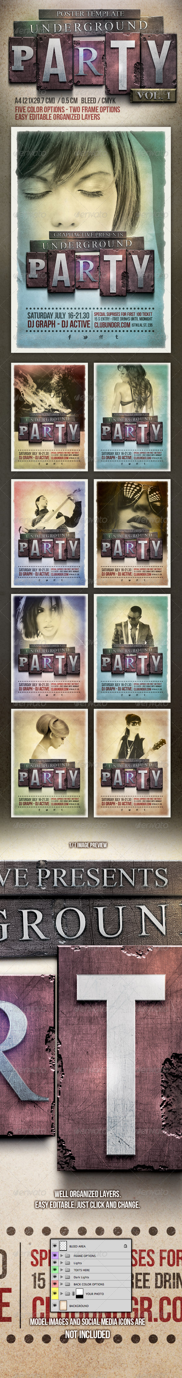 Underground Party Poster Design Template - Clubs & Parties Events