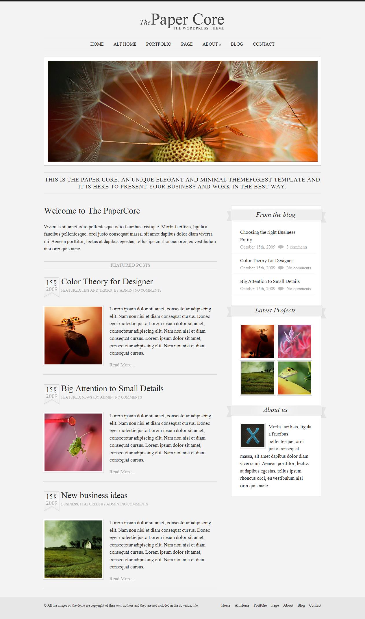 The PaperCore - Elegant WordPress Theme