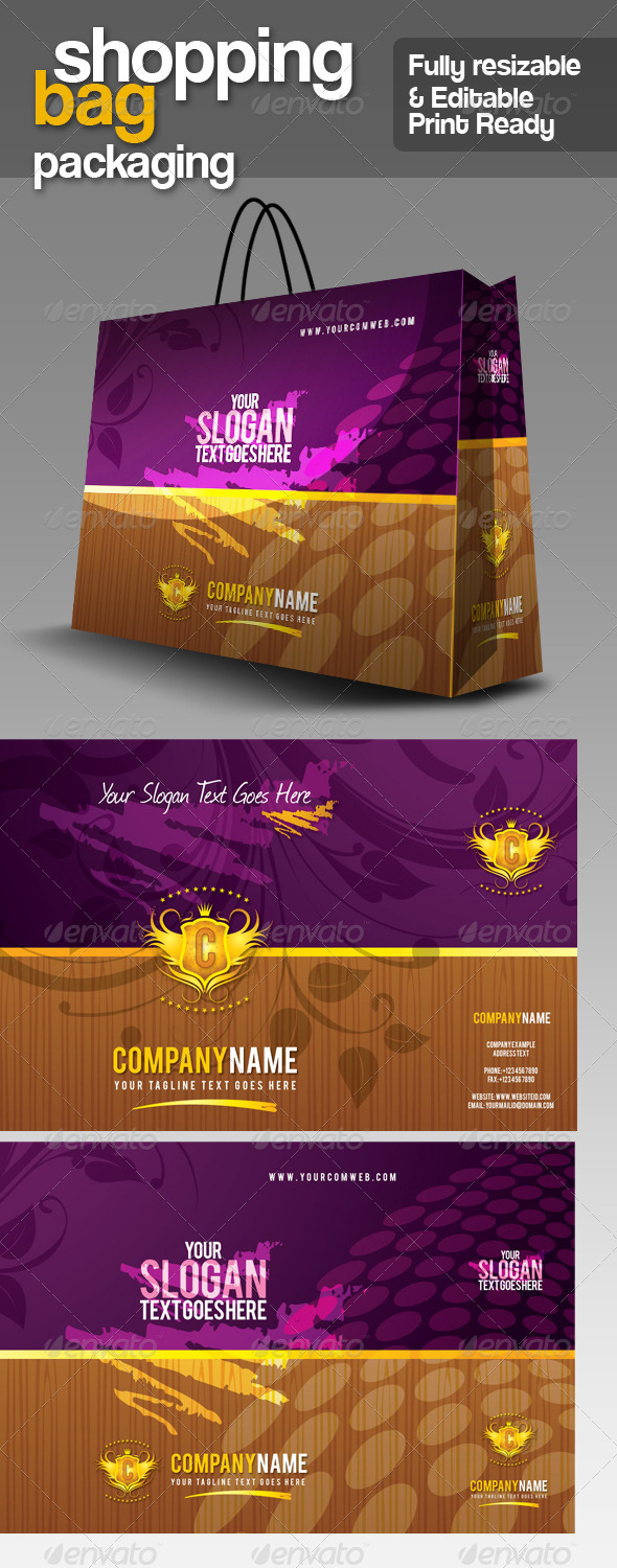 GA Shopping Bag Packaging v.1 - Packaging Print Templates