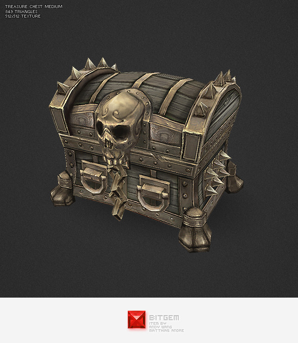Low Poly Treasure Chest - Medium - 3DOcean Item for Sale