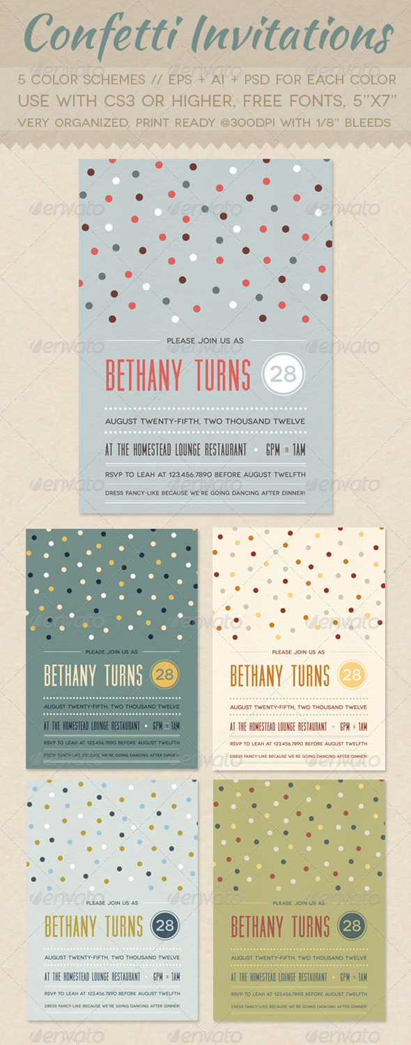 GraphicRiver Confetti Invitations 2447982