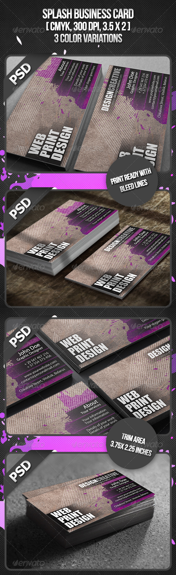 Splash Business Card - Grunge Business Cards