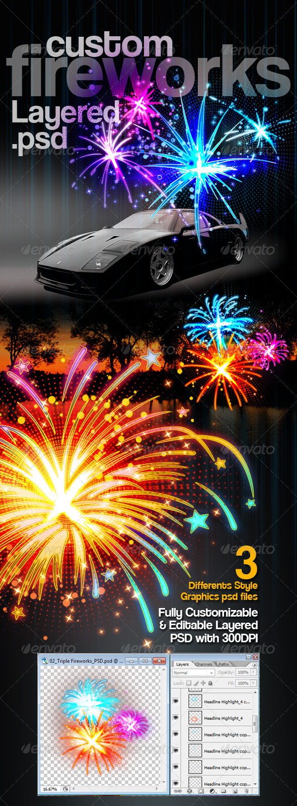 Custom Fireworks Layered PSD Graphics - Decorative Graphics