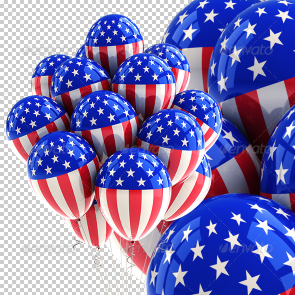 Patriotic USA Party Balloons - Miscellaneous Isolated Objects
