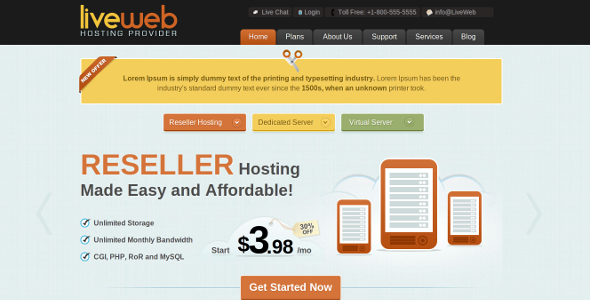 ThemeForest LiveWeb WordPress Web Hosting Template 2413431