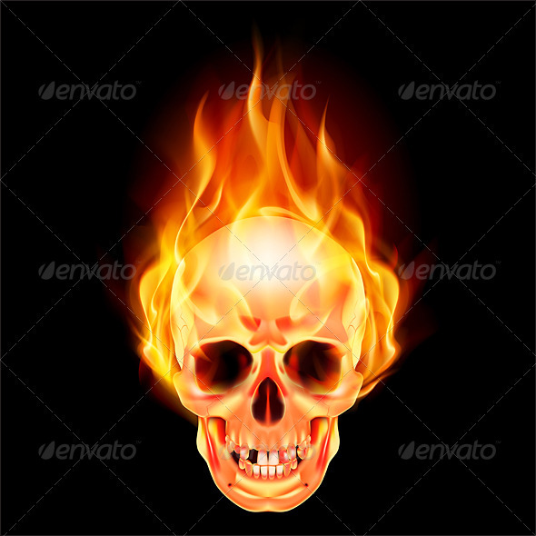 Scary skull on fire - Objects Vectors
