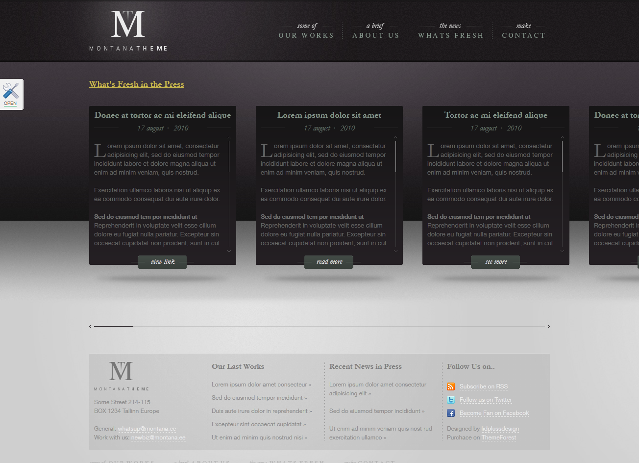 Montana Theme - WP Horizontal Portfolio Theme - News Page
