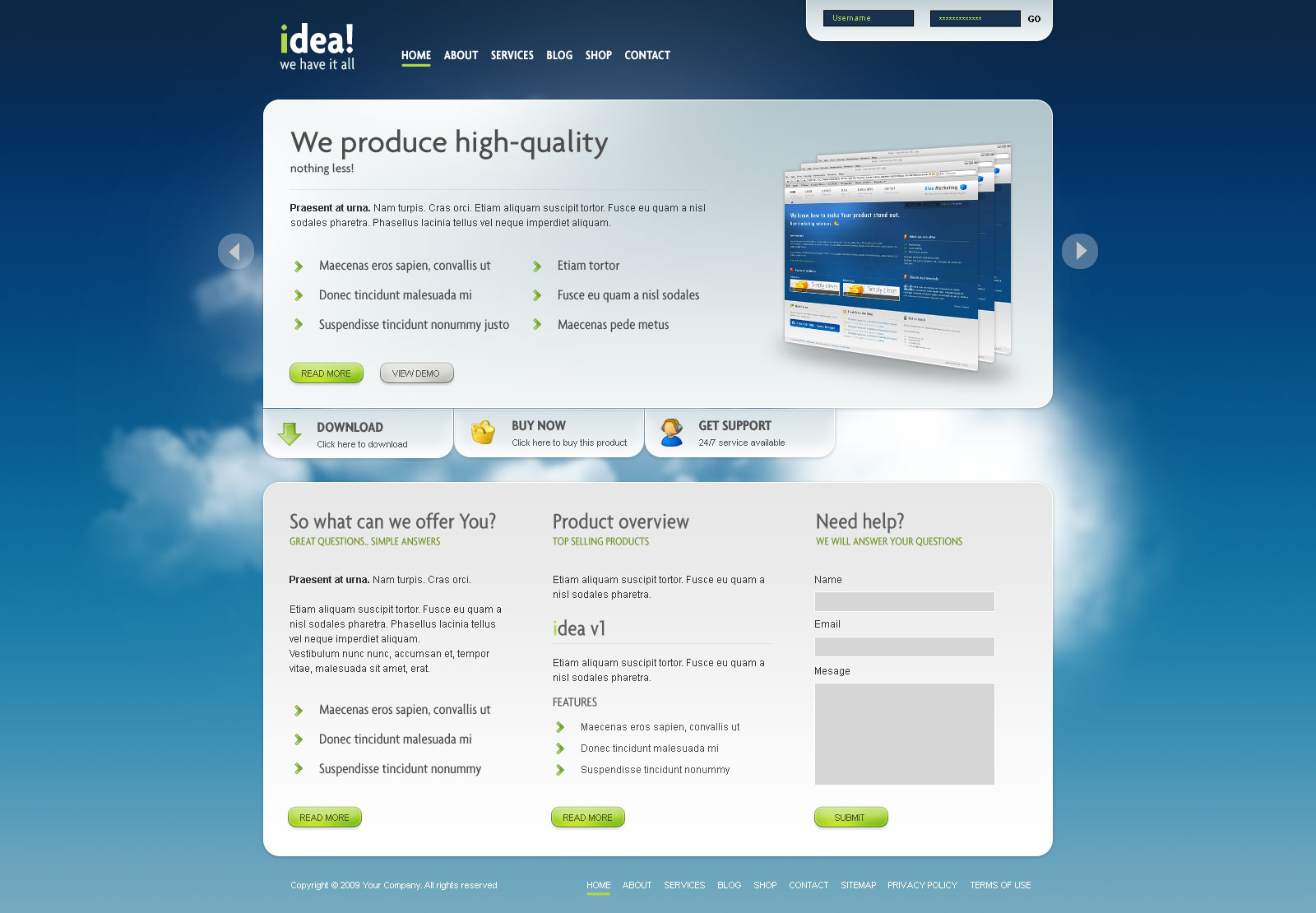idea Business Shop Blog Template Wordpress