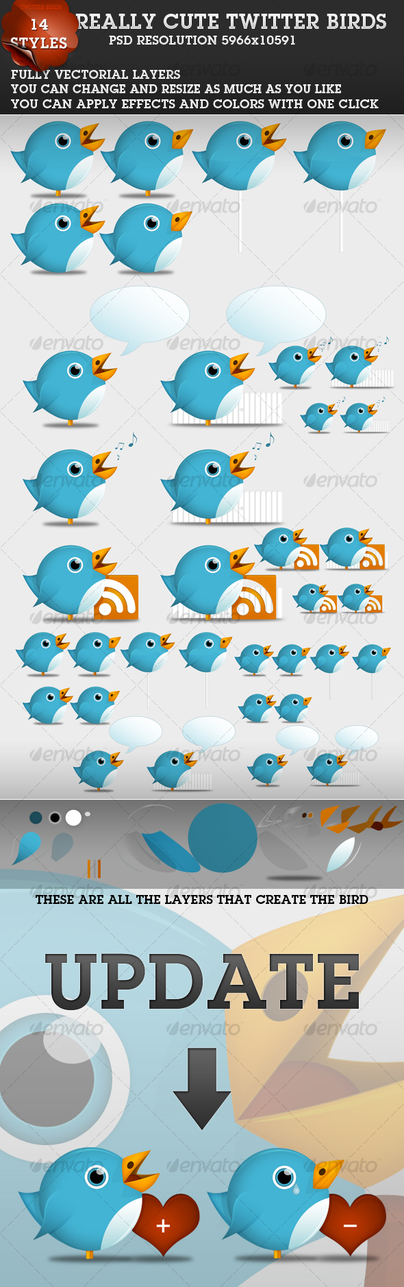 Cute Twitter Birds 1.1 - Characters Illustrations