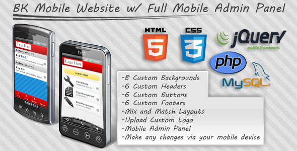 jquery Mobile Website With Full Admin Panel - CodeCanyon Item for Sale