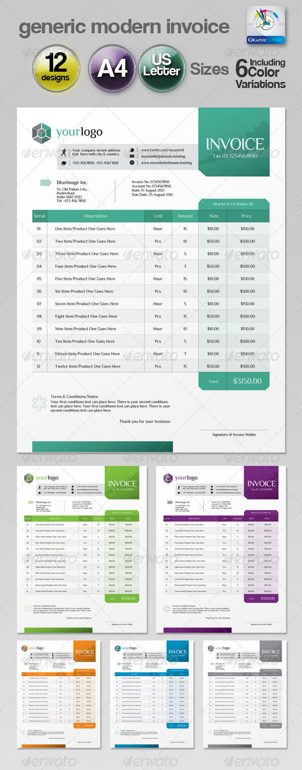 Generic Modern Invoice - Proposals & Invoices Stationery