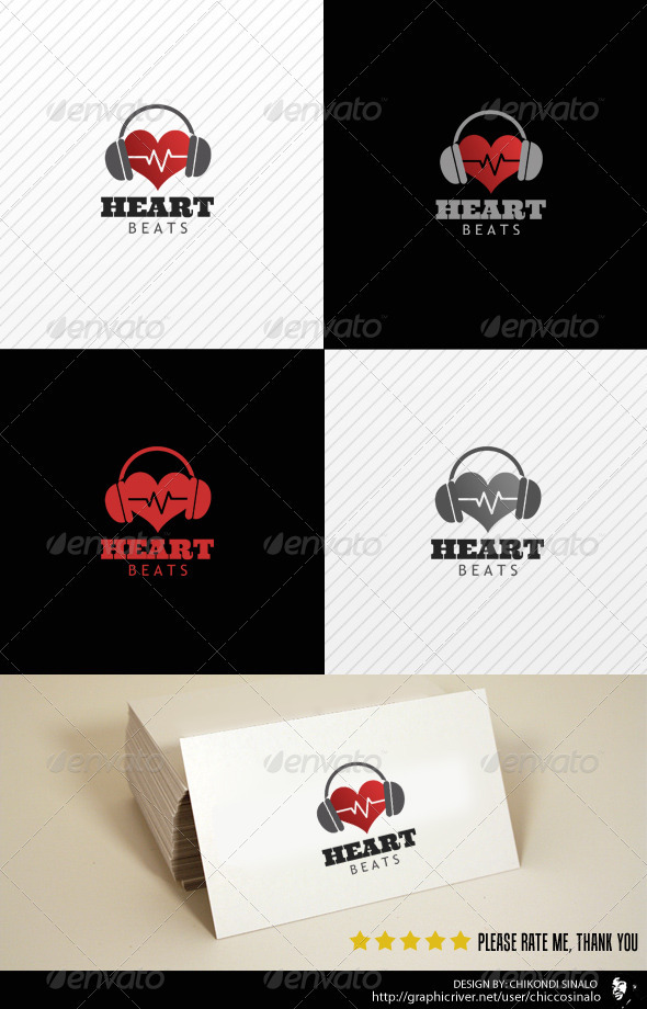 Heart Beats Logo Template - Abstract Logo Templates