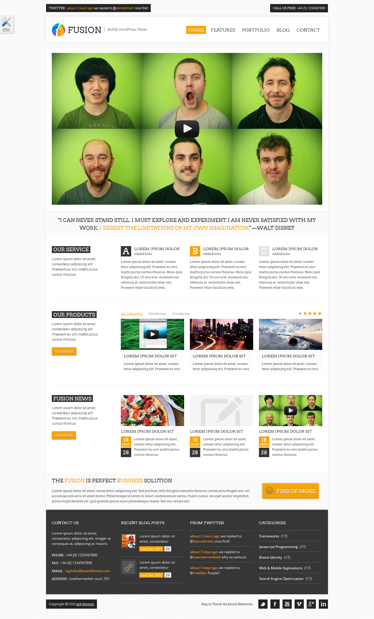 "Fusion Responsive Premium Site Template - index3.html skin ""orange"", background ""white_pattern_02"""