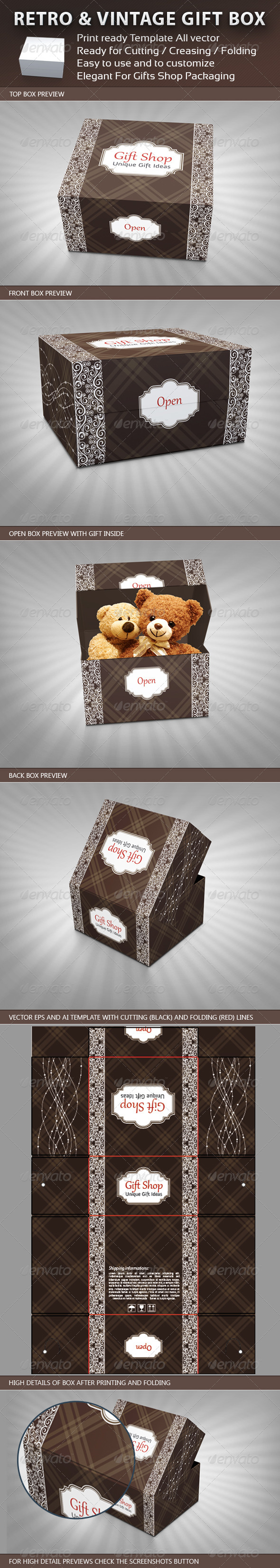 Retro and Vintage Gift Box Package Template - Packaging Print Templates