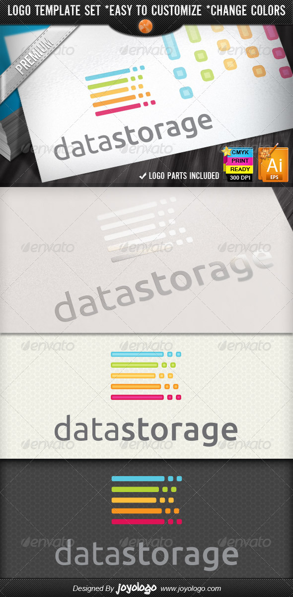Server Hosting Service Data Storage Logo Design  - Symbols Logo Templates