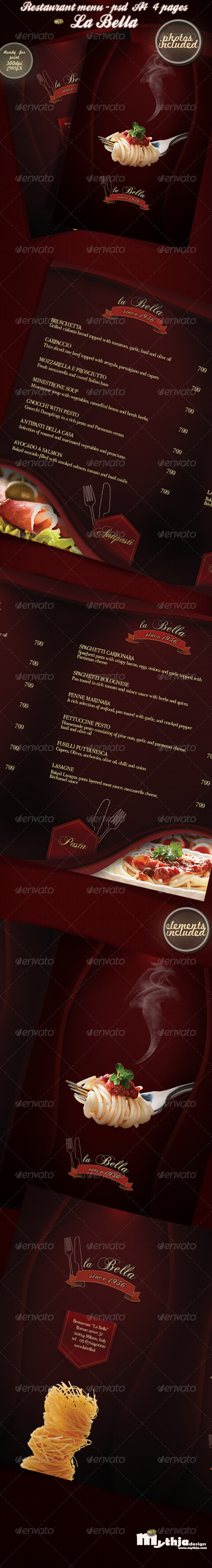 La Bella - Restaurant Menu - Photos Included - Food Menus Print Templates