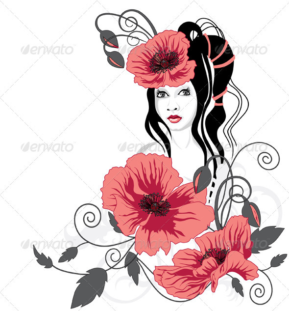 Girl and Red Flowers - People Characters