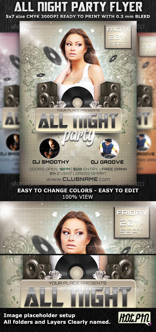 All Night Party Flyer Template - Clubs & Parties Events