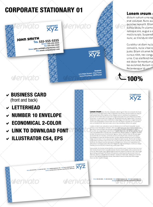Corporate Stationary 01 GraphicRiver - Print Templates -  Stationery 90156