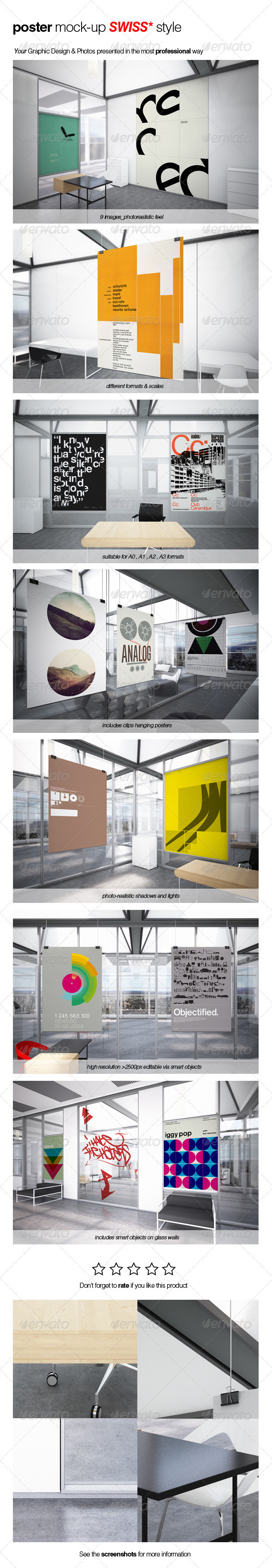 GraphicRiver Poster Mock-up SWISS Style 2460975