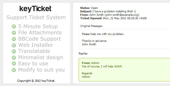 keyTicket, Simple Support Ticket System
