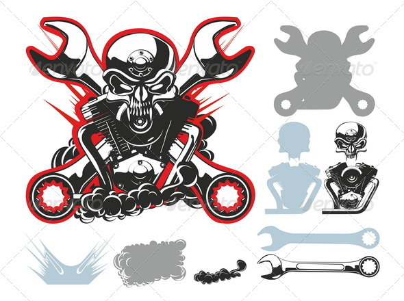 Bikers Symbols Set - Tattoos Vectors
