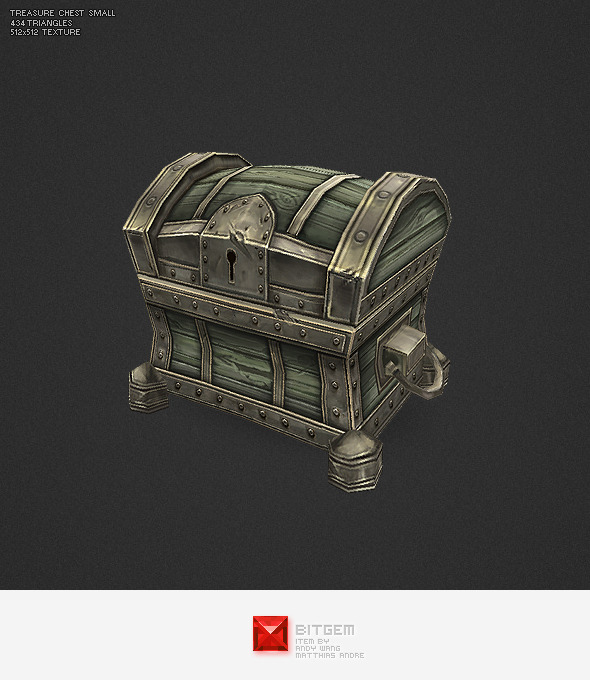 Low Poly Treasure Chest - Small - 3DOcean Item for Sale