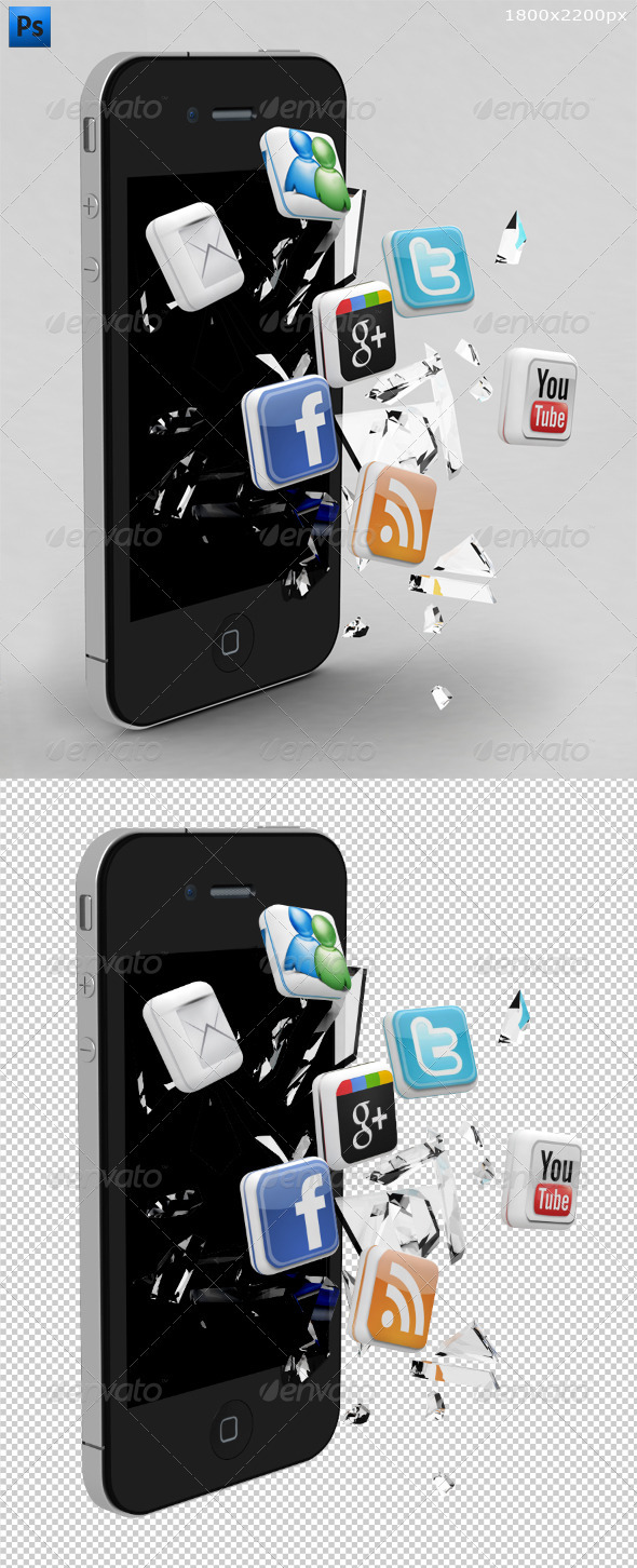 GraphicRiver Broken Phone and 3D Social Media Icons 2463509