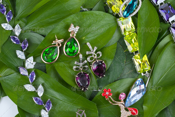 Jewelry at green leaves - Stock Photo - Images