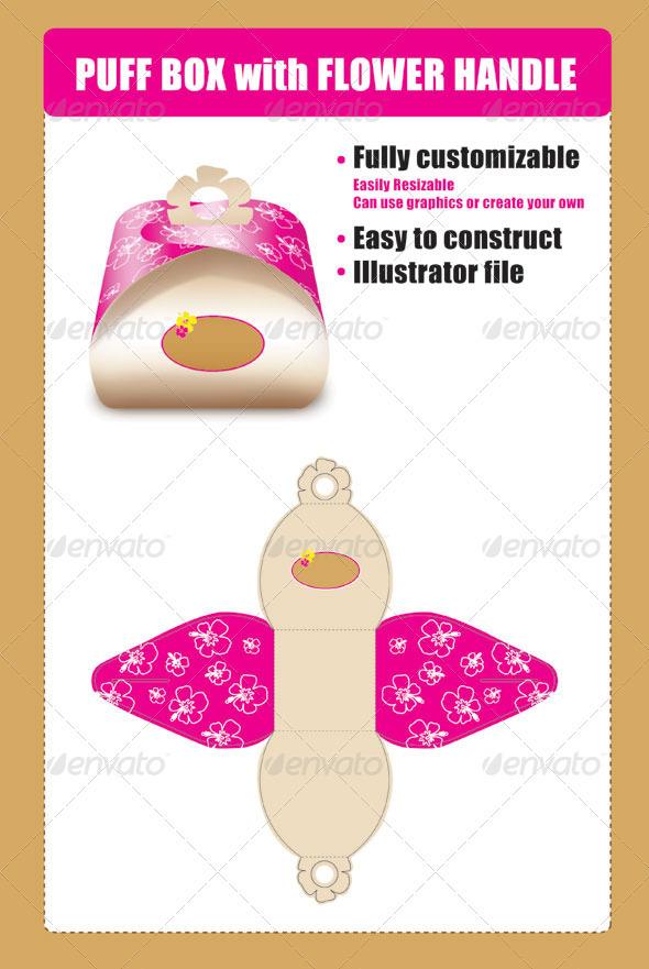 Puff Box Template with Flower Handle 设计素材下载