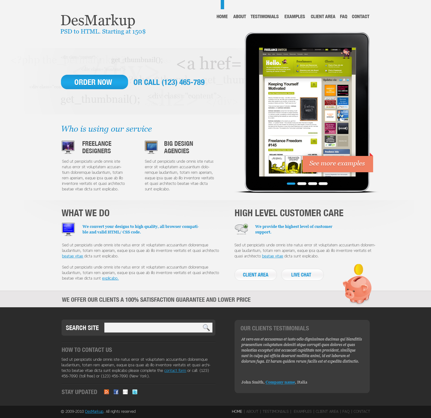 Developer PSD Template - Home page